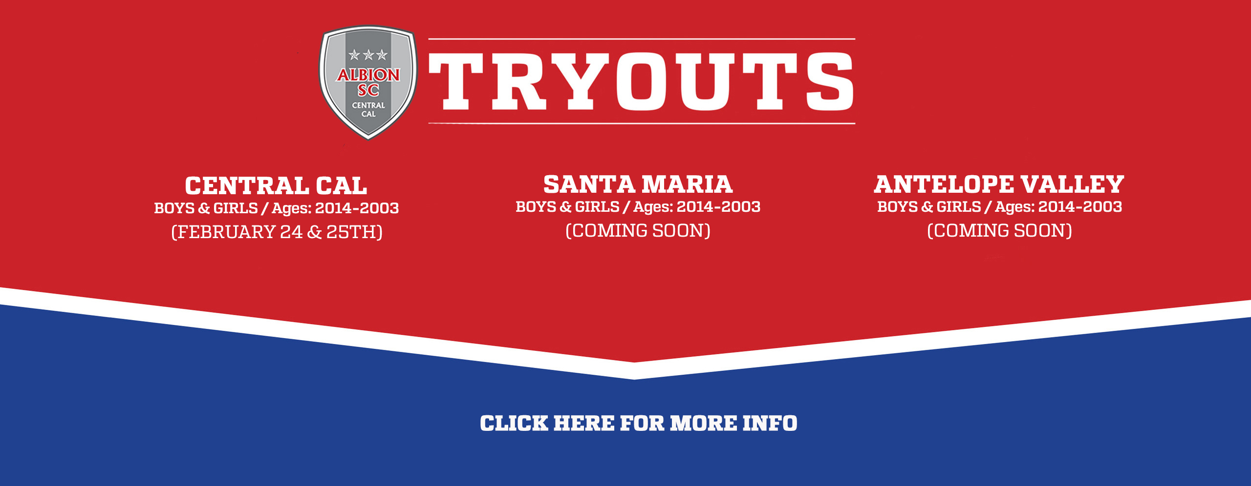 ALBION SC Central Cal TRYOUTS